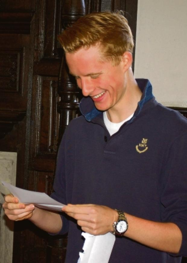 Tom Harries with his results