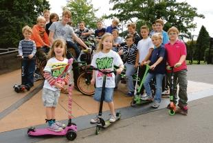 Rob McGowan joins youngsters at the skate park