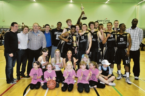 Leopards players, staff and fans celebrate with the league title