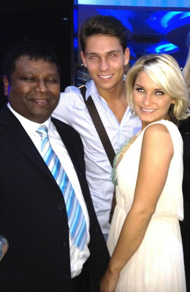 Salik Miah, restaurant owner and TOWIE stars Joey Essex and Sam Faiers