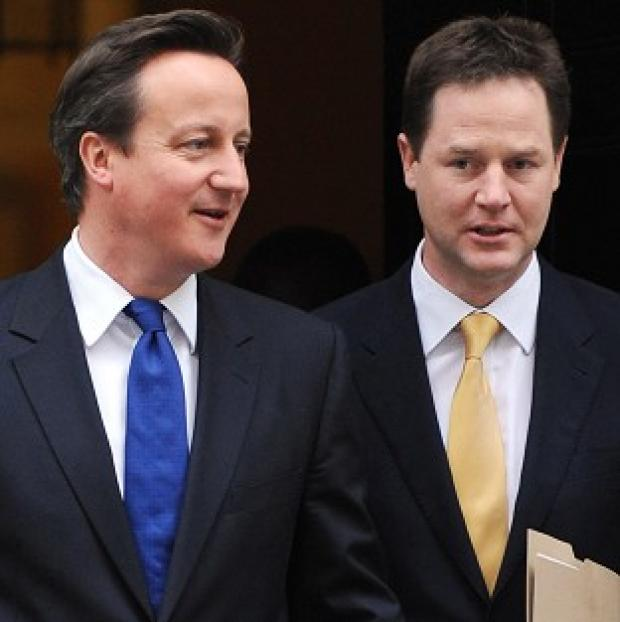 David Cameron and Nick Clegg say their coalition government is 'steadfast and united'