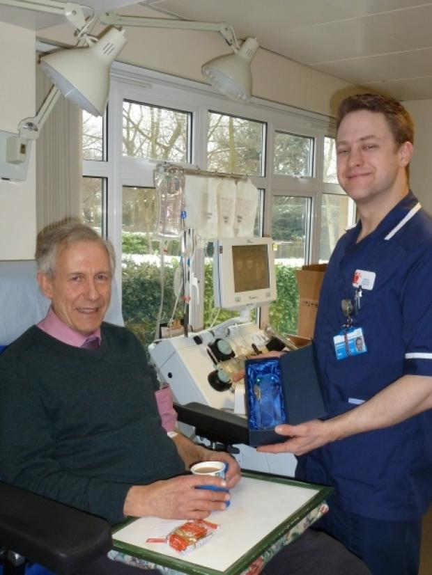 Robin Greatorex at the Brentwood Blood Centre making his 100th donation