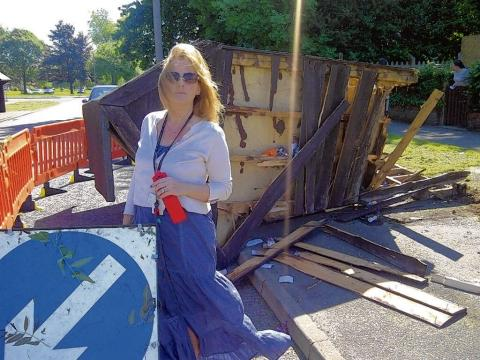 Councillor Julie Morrissey at the old bus stop