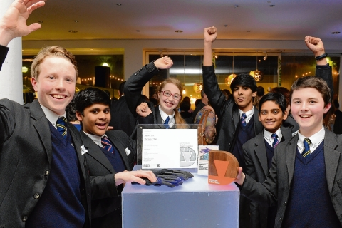 Pupils from Brentwood School with their winning entry