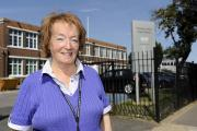 Councillor Anne Chalk outside Shoebury High School