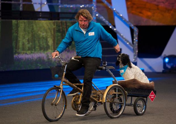 Brentwood Weekly News: TV presenter Charley Boorman with his dog Ziggy. Pic: BBC/Sports Relief/Pete Dadds