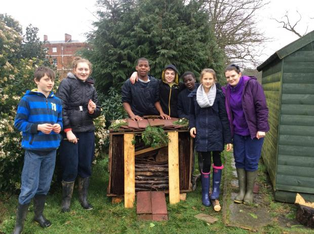 Trinity School students with their insect house