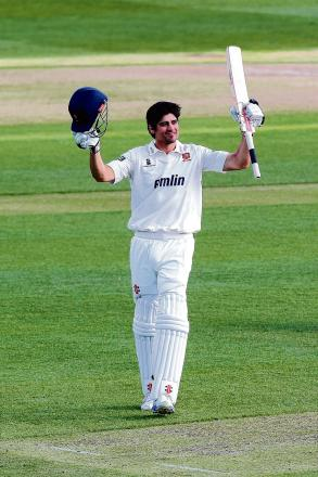 Alastair Cook celebrates his century for Essex