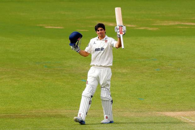 Brentwood Weekly News: Alastair Cook celebrates his century against Surrey.    PICTURES: GAVIN ELLIS/TGS PHOTOS