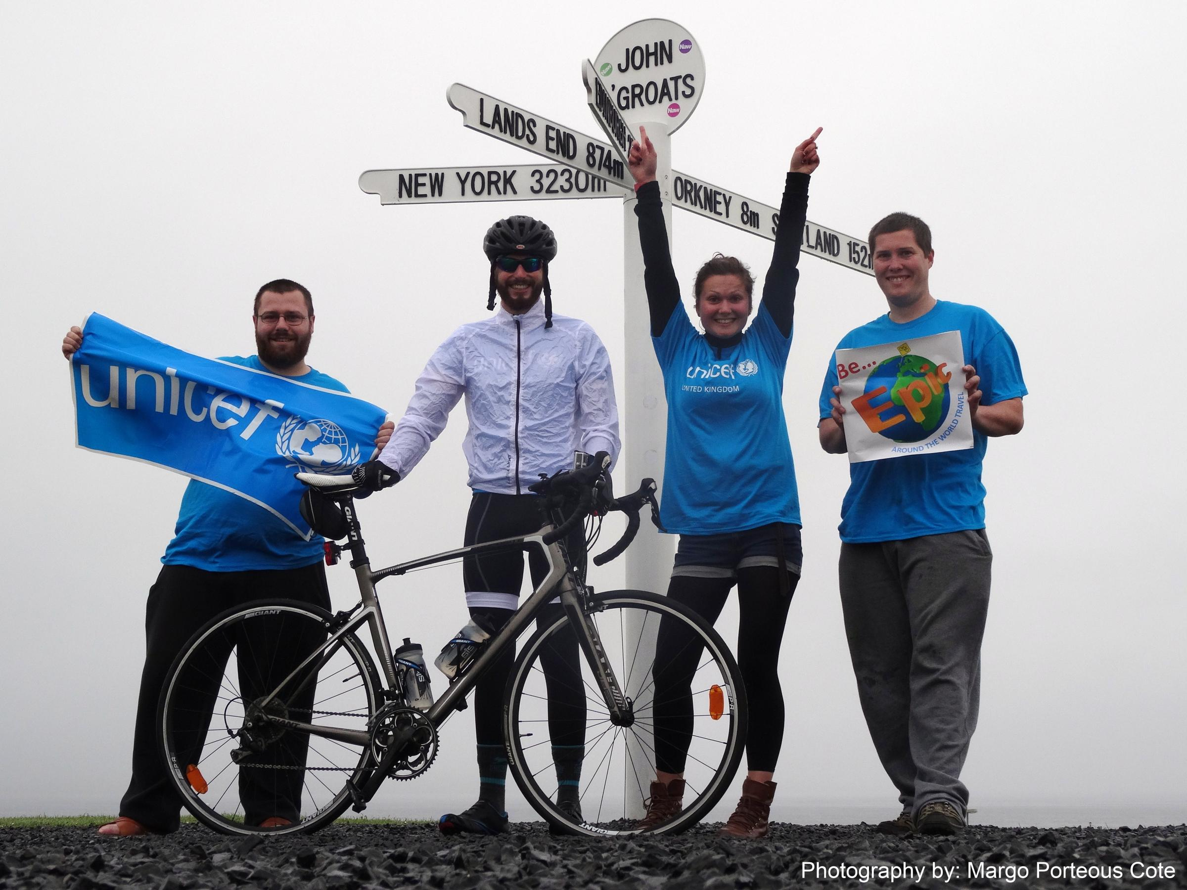 Gareth and his support team before leaving John O'Groats
