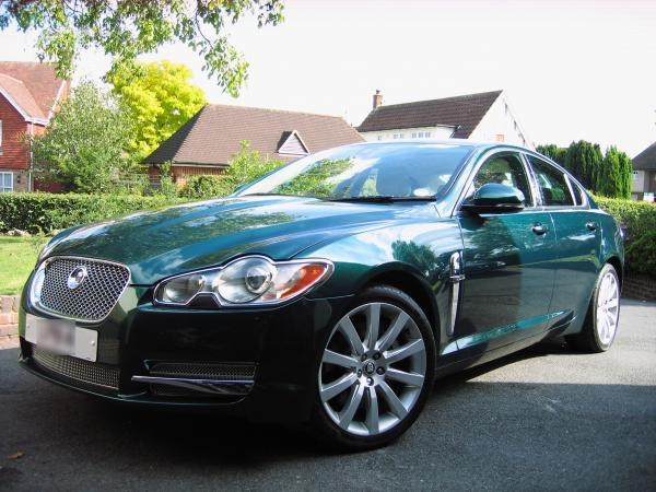 The green Jaguar XF taken from High Street, Ingatestone