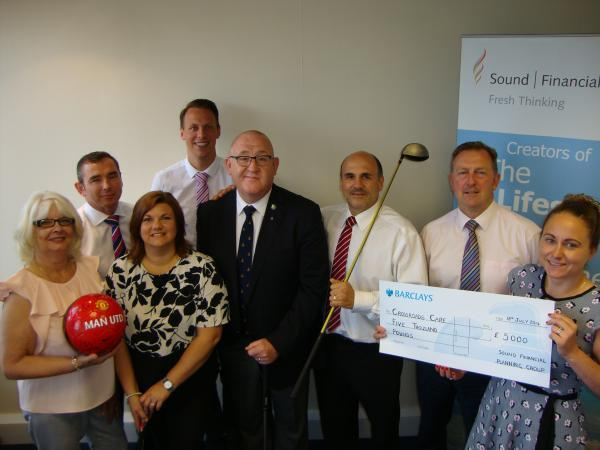 Crossroads Care, Brentwood, Basildon and Districts received the donation of £5,000 following a golf day held by Basildon company Sound Financial Planning Group.