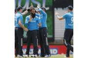 Moeen Ali, centre, finished with two for 35 from 10 overs (AP)