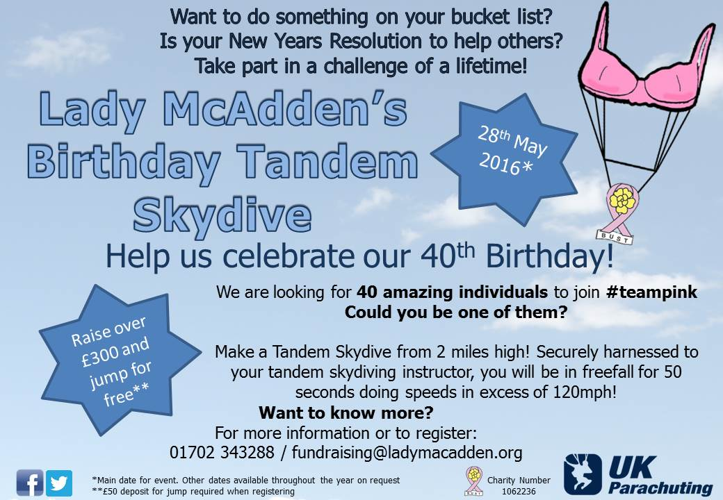 Lady McAdden's 40th Birthday Tandem Skydive